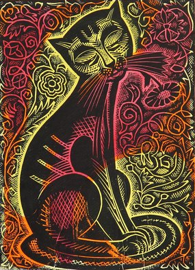 Alexander Gubarev; Wise Cat, 1962, Original Printmaking Linoleum, 21 x 29 cm. Artwork description: 241 Anothers soul is dark, well, and catssoul - even more so. ...