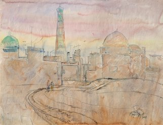 Alexander Gubarev; Morning In Khiva, 1968, Original Watercolor, 61 x 47 cm. Artwork description: 241 I liked the state of nature in the morning in Central Asia. The morning seemed to hang over the ancient city...