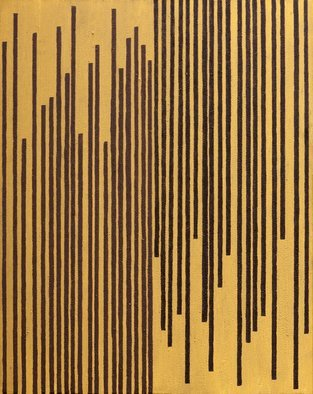 Anders Hingel; Contre Current, 2015, Original Printmaking Giclee, 92 x 73 cm. Artwork description: 241 Acrylic paint, gesso on canvasyellow, brown, verticals, minimalistic, abstract...