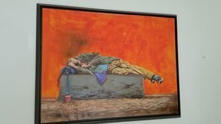 Ahmed Alkarkhi; Home Less, 2020, Original Mixed Media, 40.2 x 30.2 inches. Artwork description: 241 A Homeless Person...