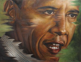Wong Pun Kin; Portrait Of Barack Obama , 2013, Original Painting Oil, 100 x 75 cm. Artwork description: 241   Portrait of Barack Obama , oil painting,      ...