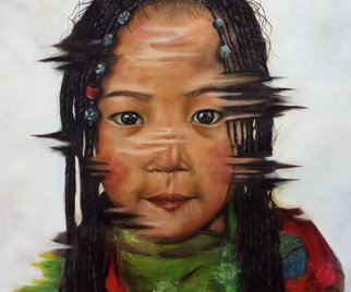 Wong Pun Kin; Portrait Of Little Girl, 2014, Original Painting Oil, 90 x 97 cm. Artwork description: 241   Portrait of little girl, chinese little girl, oil painting,   ...