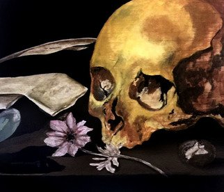 Angela Jenks; Skull Still Life Study, 2019, Original Painting Other, 6 x 6 inches. Artwork description: 241 Casein Painting...