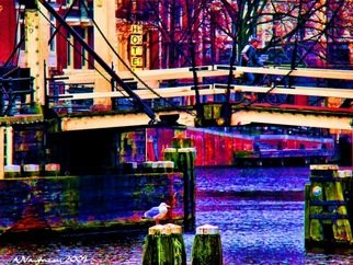 Alan Vaughn; Amstel Bridge, Amsterdam, 2009, Original Photography Color, 16 x 12 inches. Artwork description: 241  Taken in March 2009 in Amsterdam. Stylized in Photoshop. Printed on Super Heavy PaperSigned and Numbered ...