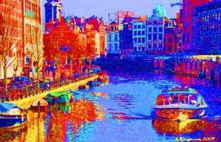 Alan Vaughn; Amsterdam Singel Canal, 2009, Original Photography Color, 16 x 12 inches. Artwork description: 241  A Photo I shot in Amsterdam of the Singel Canal in March 2009. Stylized in PhotoshopPrinted on Super Heavy Paper. Signed and Number ...