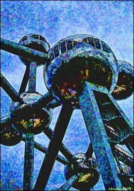 Alan Vaughn; Spicy Atomium, Brussells ..., 2009, Original Photography Color, 12 x 16 inches. Artwork description: 241  Atomium in Brussels shot in 2007 and Modified in Photoshop in 2009Signed and Numbered ...