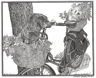 Alan Vaughn; Waiting For Our Chauffeur..., 2009, Original Drawing Pen, 9 x 7 inches. Artwork description: 241  Stippling Work of 2 dogs on a bike in Amsterdam. It's 9 X 7 on paperPrints Available. ...