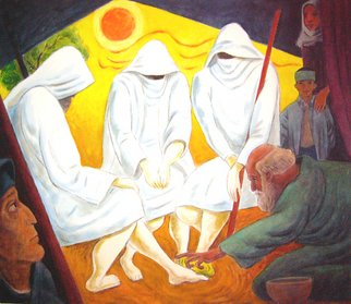 Alan Falk; Abraham And The Strangers , 2005, Original Watercolor, 18.3 x  inches. Artwork description: 241  Abraham & the Strangers I ( Hagar & Ismael)	The servant, Abraham, washes the strangers' feet asSarah, Hagar and Ishmael hear the pronouncement