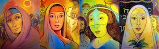 Alan Falk; The Matriarchs , 2006, Original Painting Oil, 64 x 20 inches. Artwork description: 241  A set of four paintings depicting the Matriarchs. From left to right:Panel 1 - Sarah  Focuses upon Abraham's wife Sarah. Her insight and depth of wisdom, and the people and stories that surround her.Panel 2 - RebeccaIsaac's wife Rebecca's beauty and grace and ...