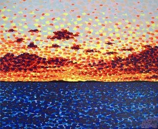 Alan Hogan; Sunset At Sea, 2008, Original Painting Acrylic, 55 x 45 cm. Artwork description: 241  This acrylic- on- canvas painting was painted with the use of special fluorescent colours to enhance the feel of a real sunset. The artist Alan Hogan wants his paintings to catch the eye of the passer- by, and he achieves this by using such vivid imagery and ...