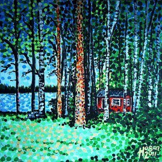 Alan Hogan; The Escape Hut, 2011, Original Painting Acrylic, 50 x 50 cm. Artwork description: 241 A typical Finnish summer cottage including sauna, a most desirable item for any Finn. Especially those who spend most of a long, dark and very cold winter in Finlands cities. A chance to make the great escape from the hectic metropolis into the calm countryside for a ...