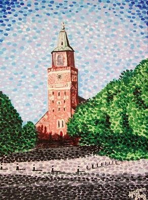 Alan Hogan; Turku Cathedral, 2008, Original Painting Acrylic, 50 x 70 cm. Artwork description: 241  Situated in the city of Turku in south- west Finland, this beautiful stone cathedral was painted here using acrylic paints on a stretched canvas. Shown here on on a bright sunny day, the artist says that the most difficult part of this painting was capturing what looks ...