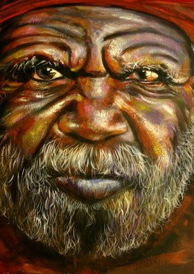 G Sfougaras; Arnhem Man, 2008, Original Painting Acrylic, 40 x 50 cm. Artwork description: 241  An earthy depiction of a powerful Australian face.  Texture and washes add depth of colour to the stricking image.  ...