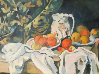 Alexander Filippovich; Copy Still Life With Drappery, 2016, Original Painting Oil, 16 x 12 inches. Artwork description: 241 Cezanne. still life, drappery, oranges, jug, table...