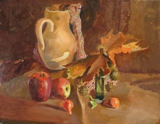 Alexander Filippovich; Still Life With Apples, 2016, Original Painting Oil, 40 x 30 inches. Artwork description: 241 Still life, apples, jug, table, leaves, autumn, glass...