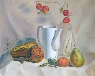 Alexander Filippovich; Still Life With Pumpkins, 2017, Original Painting Oil, 25 x 20 inches. Artwork description: 241 pumpkins, table, pears, glass, physalis, still life, drappery...