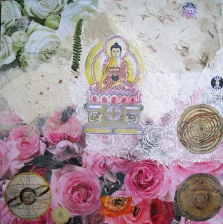 Alexandra Von Hellberg; Buddha, 2008, Original Collage, 30 x 30 cm. Artwork description: 241  a collage on wood, with buddhist symbols and subjects, covered with a layer of wax ...