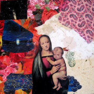 Alexandra Von Hellberg; Mother Of The Universe, 2008, Original Mixed Media, 45 x 45 cm. Artwork description: 241  Paper, prints, stamps, plants and wax on wood ...