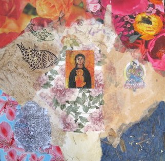 Alexandra Von Hellberg; The Madonna Of Nicopeia O..., 2008, Original Mixed Media, 45 x 45 cm. Artwork description: 241  paper, prints, stamps , plants and wax on wood ...
