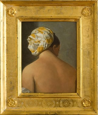 Alex Heyes; Baigneuse  De Valpincion Jeune, 2008, Original Painting Oil, 20 x 25 cm. Artwork description: 241                    Detail after Ingres. This painting is a study of a detail of the original painting by  Ingres, in yellow. It has a beautiful Italian hand- punchworked and watergilded 23ct gold frame with rosettes.                    ...