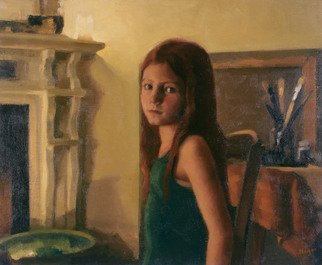 Alex Heyes; Victoria By Candlelight, 2001, Original Painting Oil, 55 x 46 cm. Artwork description: 241 Portrait of Victoria by candlelight - this work was painted from life and using black and white photography - capturing the luminous mood and tonality of the room and subject.   ...