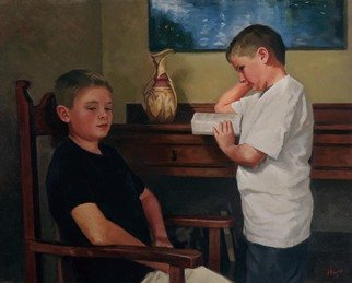 Alex Heyes; William And Campbell, 2001, Original Painting Oil, 90 x 72 cm. Artwork description: 241  Portrait of William and Campbell  ...