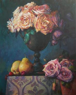 Alexandra Kruglyak-Zecevic; Tea Roses, 2008, Original Painting Acrylic, 16 x 20 inches. Artwork description: 241  You would love this painting for years to come, I guarantee.It is beautiful and full of happy energy. ...