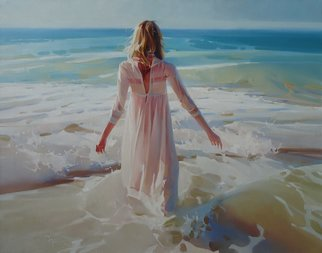 Alexey Chernigin; Appointment, 2017, Original Painting Oil, 90 x 70 cm. Artwork description: 241 Sea, girl, waves, sunny, water, seacoast, body, dress, impressionism...