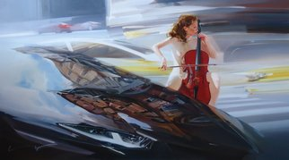 Alexey Chernigin; Music Of The Spring Streets, 2015, Original Painting Oil, 160 x 90 cm. Artwork description: 241 Cello, street, music, naked girl, cars, reflections...