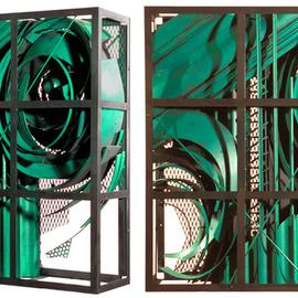 Alexey Klimov, , , Original Sculpture Steel, size_width{past_continuous_in_green-1487006083.jpg} X 36 inches