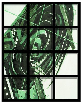 Alexey Klimov; Timeless Behind Bars In Green, 2009, Original Painting Other, 24 x 30 inches. Artwork description: 241  This collection of 5 paintings is my playful reflection on the timeless nature of most visually captivating architectural detail of the ancient past graduating into contemporary Post- Modern. This is where the name