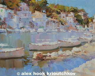 Alex Hook Krioutchkov; Cala Figuera XIII, 2015, Original Painting Oil, 73 x 60 cm. Artwork description: 241  seascape, beach, sea, playa, marina, boats, ships, expressionism, barcos, Mediterraneo, Mallorca, ...