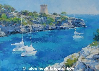 Alex Hook Krioutchkov; Cala Pi III, 2016, Original Painting Oil, 146 x 97 cm. Artwork description: 241  seascape, marina, boats, ships, barcos, Mediterraneo, Mallorca, Cala Pi, ...
