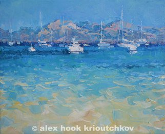 Alex Hook Krioutchkov; Formentor, 2015, Original Painting Oil, 55 x 46 cm. Artwork description: 241  seascape, beach, sea, playa, marina, boats, ships, expressionism, barcos, Mediterraneo, Mallorca, Formentor, ...