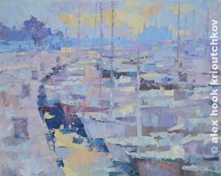 Alex Hook Krioutchkov, Palma de Mallorca after sun..., 2015, Original Painting Oil, size_width{Palma_de_Mallorca_after_sunset-1488791757.jpg} X 22 x  inches