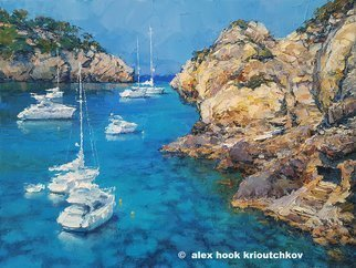 Alex Hook Krioutchkov; Costa De Deia Iii, 2018, Original Painting Oil, 146 x 97 cm. Artwork description: 241 Cala Deia, Mallorca, costero, coastal, litoral, barcos, boats, yachts, marina, ...