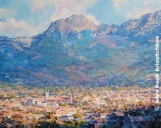 Alex Hook Krioutchkov; Soller Ii, 2018, Original Painting Oil, 146 x 97 cm. Artwork description: 241 Soller, Mallorca, pueblos, cityscape, traumontana, ...