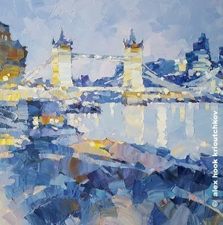 Alex Hook Krioutchkov; Tower Bridge V, 2019, Original Painting Oil, 60 x 60 cm. Artwork description: 241 Tower Bridge, London, Londres, cityscape, ciudades, pueblos, places, Thames, architecture, arquitectura, abstract, ...