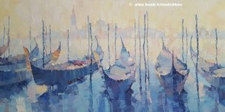 Alex Hook Krioutchkov; Venice Xi, 2018, Original Painting Oil, 100 x 50 cm. Artwork description: 241 Venice, Venecia, Italy, seascape, marina, gondolas, boats, cityscape, ...