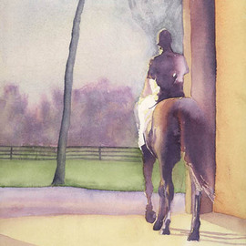 Artist: Alexis Burris, title: Leaving The Barn, 2000, Original Printmaking Giclee