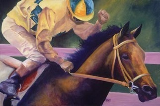 Alexis Burris, Young Filly First Win, 2007, Original Printmaking Giclee, size_width{Young_Filly_First_Win-1177392123.jpg} X 16 inches