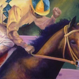 Artist: Alexis Burris, title: Young Filly First Win, 2007, Original Printmaking Giclee