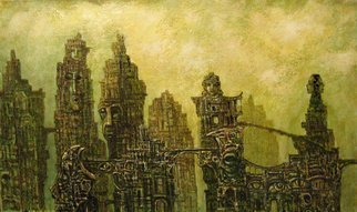 Alexandr Ivanov; Magic City, 2015, Original Painting Oil, 70 x 43 cm. Artwork description: 241       fantastic landscapeNZ materialized magical powers were transformed into complex architectural structures         ...