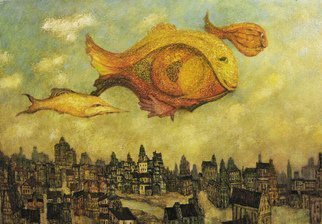 Alexandr Ivanov; Unhurried Flight Of Fishes, 2016, Original Painting Oil, 100 x 70 cm. Artwork description: 241 phantasmagoria in the sky . . . huge strange fish in the sky above the town...