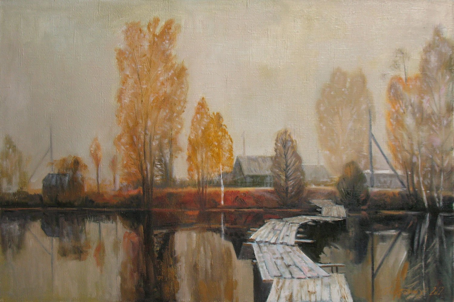 Alexander Bezrodnykh; Morning Misty, 2017, Original Painting Oil, 75 x 50 cm. Artwork description: 241 Morning, misty, river, bridg, ...