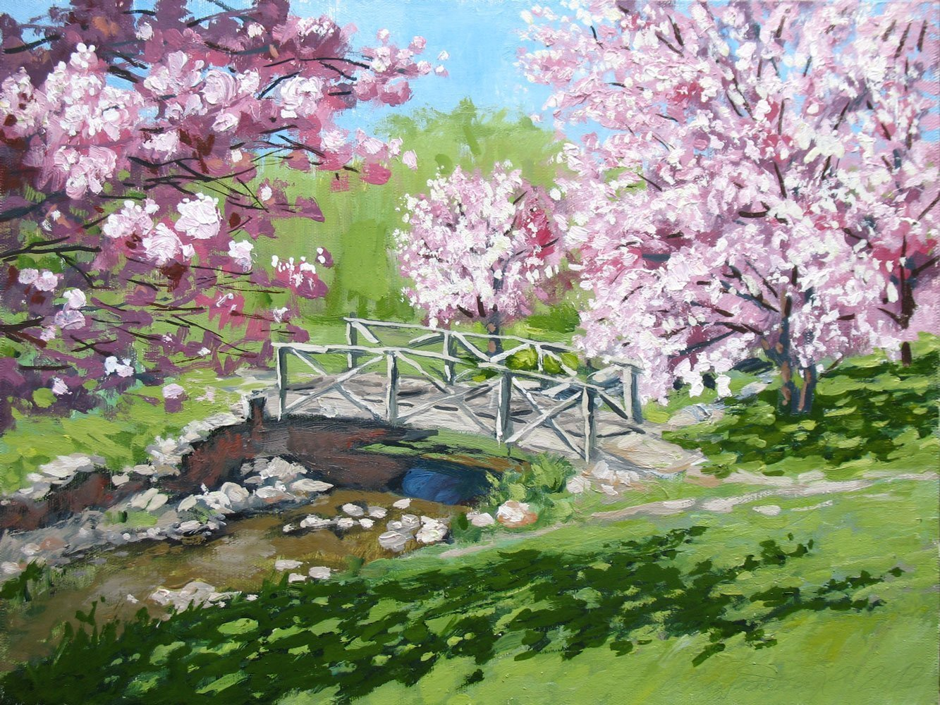 Alexander Bezrodnykh; Bridge Apple Trees, 2017, Original Painting Oil, 40 x 30 cm. Artwork description: 241 Bridge, Apple Trees, Spring...