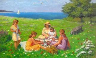 Alexander Bezrodnykh; By The Sea, 2006, Original Painting Oil, 90.5 x 62 cm. Artwork description: 241 Seaside, by the sea, picnic, sea...