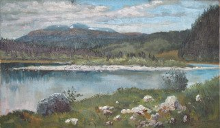 Alexander Bezrodnykh; Cloudy 44x77cm, 2005, Original Painting Oil, 77 x 44 cm. Artwork description: 241 cloudy, lake, island, ...