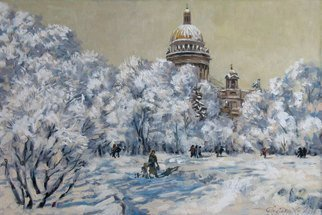 Alexander Bezrodnykh; Frost, 2016, Original Painting Oil, 60 x 40 cm. Artwork description: 241 frost, winter, St. Petersburg, Russia...