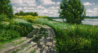 Alexander Bezrodnykh; Road Lake, 2017, Original Painting Oil, 65.5 x 36 cm. Artwork description: 241 road, lake, Russia, summer...